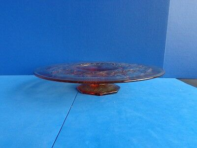 AMBER FOOTED DEPRESSION GLASS CAKE PLATE, ROCK CRYSTAL, McKEE GLASSWARE- GREAT