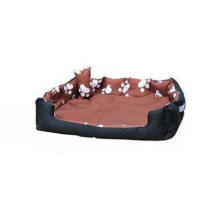 Medium Washable Dog Bed Light Bedding Paw Print Pet Animal Cat Basket Dark Brown