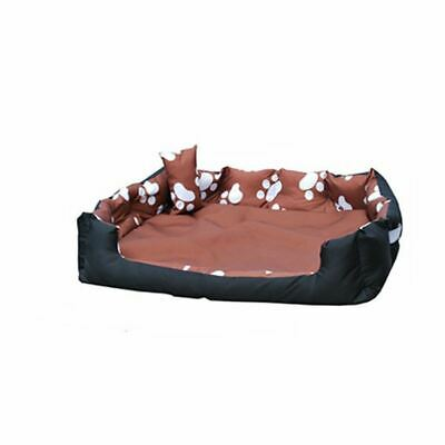 Large Washable Dog Bed Light Bedding Paw Print Pet Animal Cat Basket Dark Brown