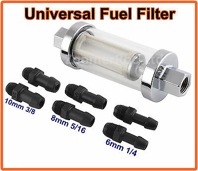 """1/4"""" 5/16"""" 3/8"""" Multi Fit Large Inline Fuel Filter Chrome Metal & Glass"""