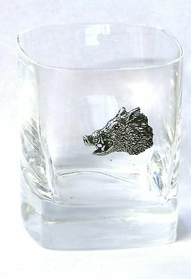 Boar Head Pewter Motif Pair of Crystal Tumblers Presentation Box Hunting Gift