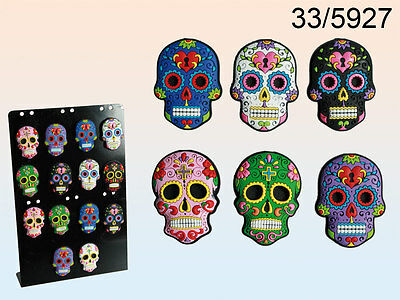 Day Of The Dead Rubber Skull Magnet - Mexican Tattoo - New Assorted Colours