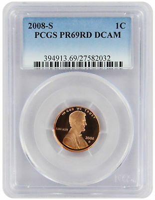2008-S Lincoln Cent PR69RD DCAM PCGS Proof 69 Red Deep Cameo