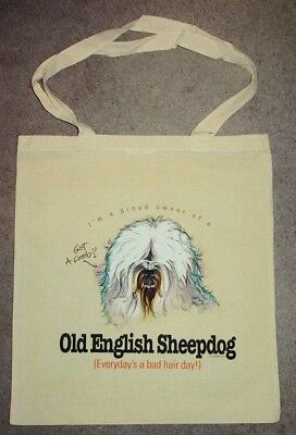 Old English Sheepdog Design Printed Tote Shopping Bag
