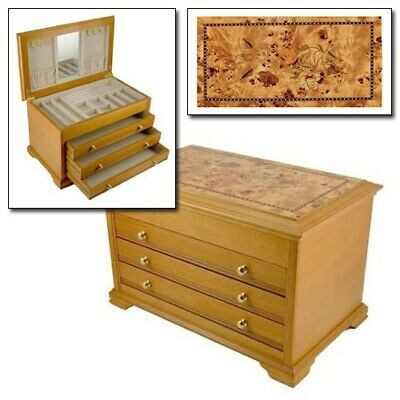 Lionite Mele Cathleen Large Wooden Chest Jewellery Box Inlaid Oriental Rose
