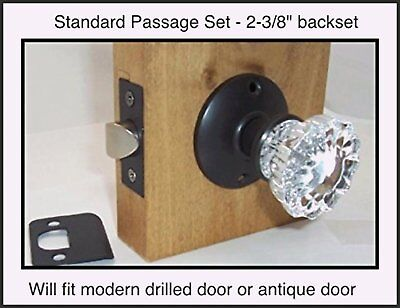LOT of TWO (2) Fluted Crystal Glass Passage Knob Set- for Modern Doors-DIY-Pack