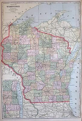 1900 Antique WISCONSIN Map Vintage Map of Wisconsin State Map  #1069