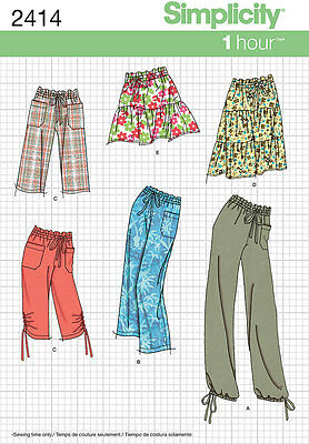 Sewing Pattern Simplicity 2414 Misses' Pants Or Shorts & Skirt 1 Hour
