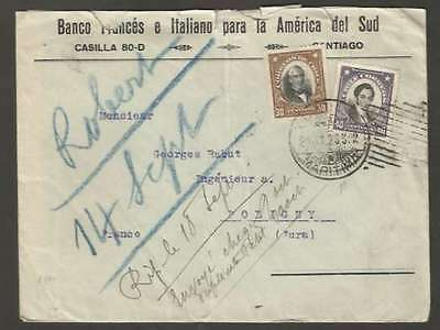 Chile To France Advertising Cover 1929 w 2 Stamps L@@K