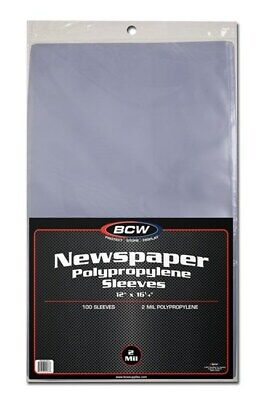 Pack of 100 BCW 12 x 16 Newspaper Acid Free 2-Mil Clear Poly Sleeves 12x16