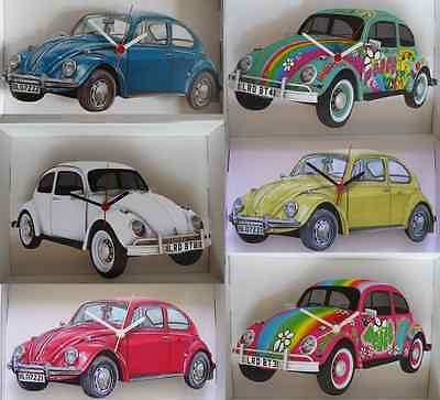 Classic Vw Beetle Car Wall Clock.new & Boxed.6 Designs To Choose From.made In Uk