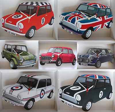 Classic Mini Car Wall Clock.new & Boxed.7 Designs To Choose From.made In Uk