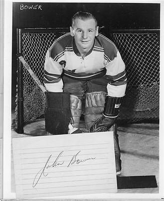 JOHNNY BOWER Autographed Index Card and 8 x 10 Photo COA
