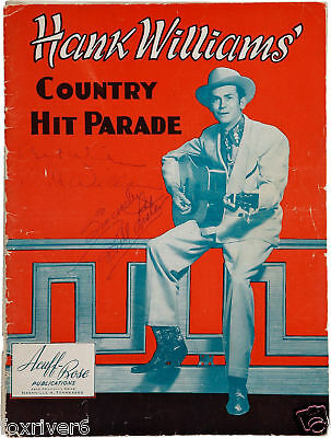 HANK WILLIAMS Signed Page - 1950s Country & Western C&W Musician Star