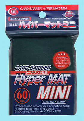 60 KMC MINI HYPER MAT GREEN Small Card Barrier NEW Matte Deck Protector Sleeves
