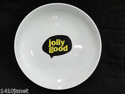 """CB2 Shallow Round White Dish with """"Jolly Good"""" in Dialog Bubble 8.25"""" Snacks"""