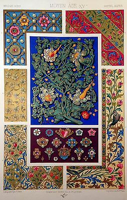 Middle Ages ORNAMENTAL DESIGN, antique French  print, ca. 1885