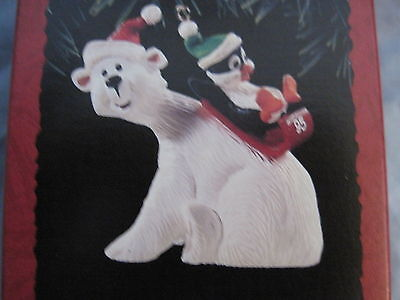 1995 Hallmark POLAR COASTER Ornament POLAR BEAR WITH PENGUIN SLIDING DOWN BACK