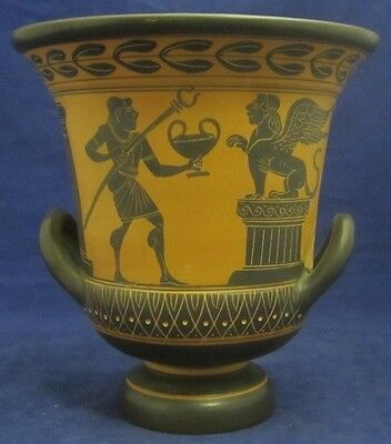 Vintage Terra Cotta Reproduction GREEK VASE Decorative Greco Roman Mythology