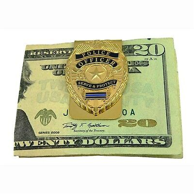Police Officer Badge Money Clip Card Holder Thin Blue Line Gift Blue Lives