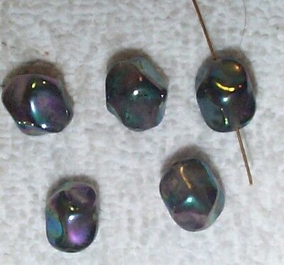 Vintage Japanese Twisted Iridescent Glass Beads 15Mm. 10 Pieces -Blue/black