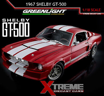 Greenlight 12928 1:18 1967 Ford Shelby Gt500 Eleanor Red White Stripes Diecast
