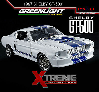 Greenlight 12929 1:18 1967 Ford Shelby Gt500 Eleanor White Blue Stripes Diecast