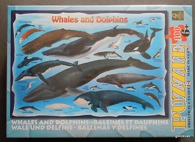 """NEW Eurographics Jigsaw Puzzle """"Whales and Dolphins """"  100 Pieces Gorgeous"""