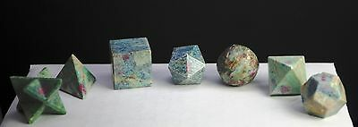 661 ~ 7 Pcs Ruby In Fuschite Quartz Platonic Solids Sacred Geometry Set
