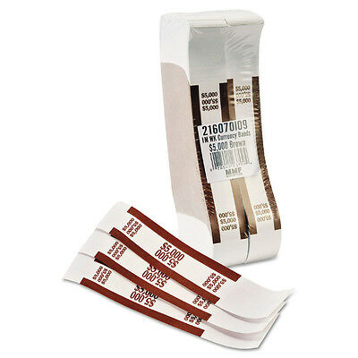 Self-Adhesive Currency Bands Straps, Brown, $5,000 in $50 Bills, 1000 Bands/Box