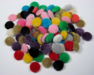BB FLATBACKS FABRIC COVERED 15mm FLUFFY FURRY mix of 20 flatback hair bows