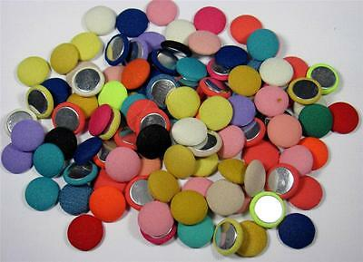 BB FLATBACKS FABRIC COVERED ROUND mixed of 20 spot plain 15mm flatback hair bows