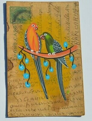 A Lovely Old Rajasthan Miniature Painted Indian Postcard Of Two  Birds  No 164