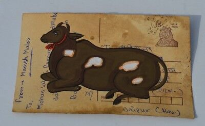 A Lovely Old Rajasthan Miniature Painted Indian Postcard Of A Cow  No 169