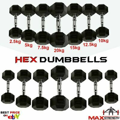 Hex Dumbbells Rubber Weight Set Home Gym Tricep Hexagonal Ergo Fitness Training