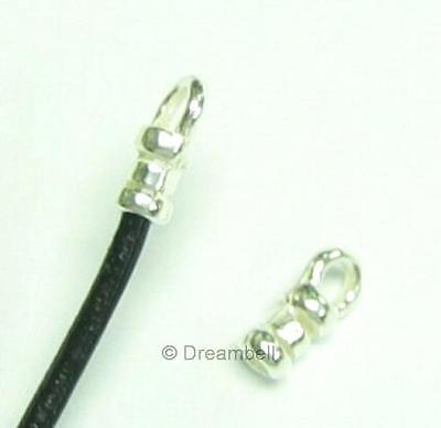 10 pcs  Bright 925 STERLING SILVER Bead 1mm LEATHER Cord END CAP