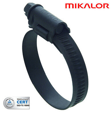 MIKALOR 32-50mm BLACK STAINLESS STEEL HOSE CLAMP, CLIP HIGH GRIP (JUBILEE TYPE)