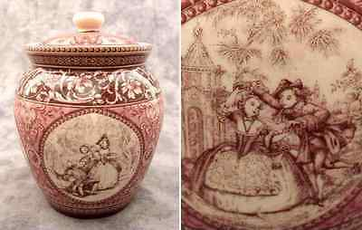 Red & Cream Transferware French Countryside Toile Biscuit Jar Canister
