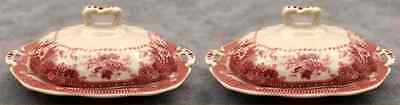 2 Red & Cream Transferware Victorian Floral Toile Butter Pat Dishes