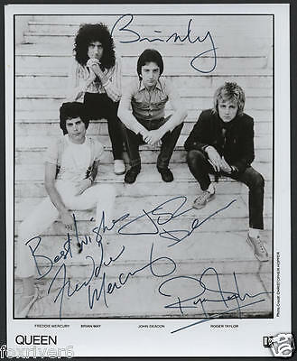 QUEEN Signed Photograph Rock Stars Freddie Mercury Brian May Roger Taylor Deacon