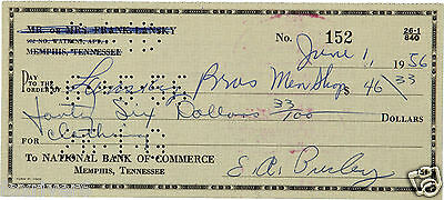 ELVIS PRESLEY Signed Cheque / Check - Singer / Musician / Film Star