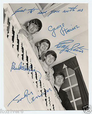 THE BEATLES Signed Photograph - Pop Group 1960s Card