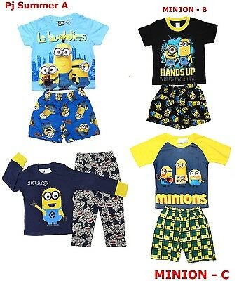 NEW Sz 2~8 BOY KIDS PYJAMAS MINION PJ PJS SLEEPWEAR TOP TEE TSHIRT SUMMER OUTFIT
