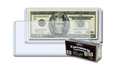 50 BCW 6.5x3 Regular Small Currency Dollar Bill Hard Plastic Toploaders holders