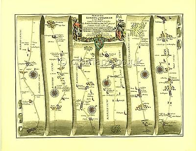 St.Albans to Oakham inc Luton,Bedford,Kettering Replica 17c OGILBY Old Road Map