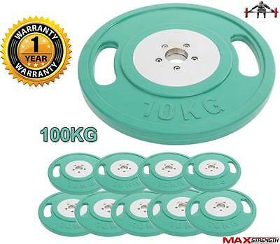 """Olympic Rubber Weight Plates 2"""" Disc Two Grip Dumbbell Barbell Training Fitness"""