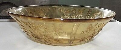"Sharon cabbage Rose amber 10 1/2"" fruit bowl by Federal glass"
