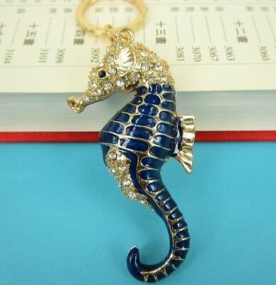 New Ocean Sea Horse Hippocampal Charm Pendent Chain Crystal Purse Bag Keyring Gi
