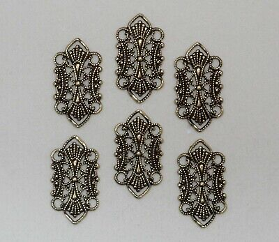 #1481 ANTIQUED GOLD OPEN FILIGREE 4 RING CONNECTOR - 6 Pc Lot