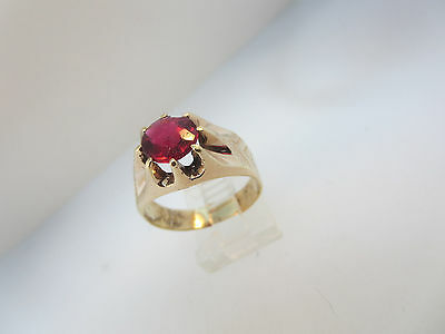 ART DECO NOUVEAU RED CREATED STONE RING 10k ROSE GOLD SZ 10 RESTORED
